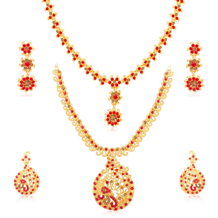 Sukkhi Exclusive Gold Plated LCT & Red Stone Peacock Necklace Combo Set of 2 for Women