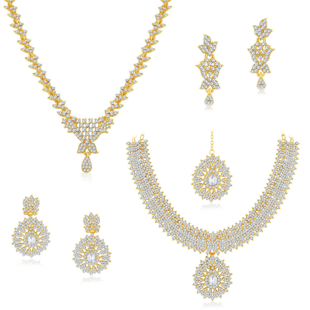 Sukkhi Dazzling Gold Plated Austrian Diamond Necklace Combo Set of 2 for Women
