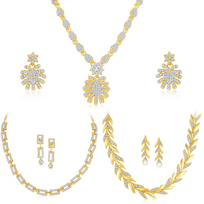 Sukkhi Modern Gold Plated Austrian Diamond Necklace Combo Set of 3 for Women
