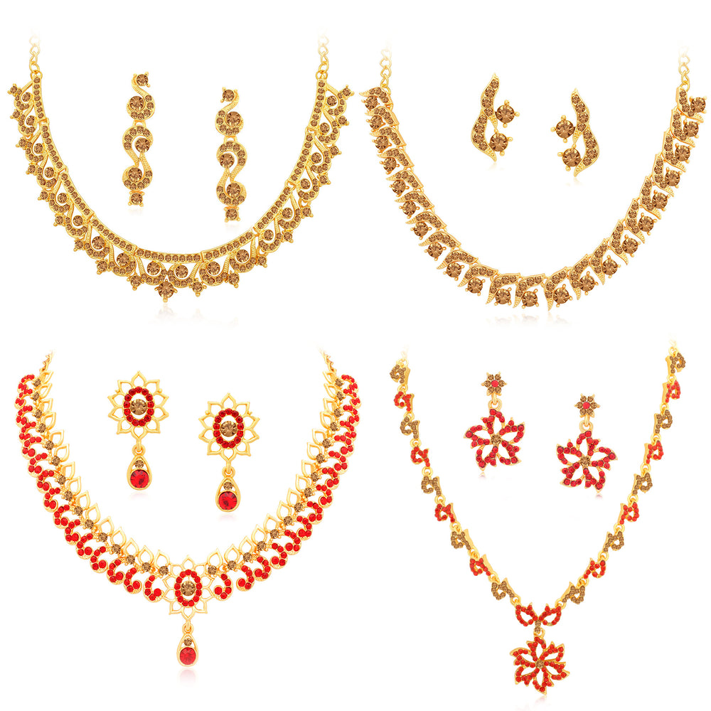 Sukkhi Stylish Gold Plated LCT & Red Stone Necklace Combo Set of 4 for Women
