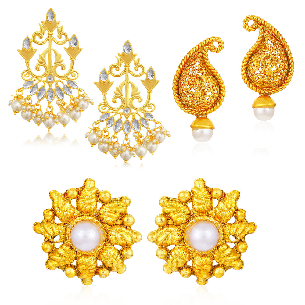Sukkhi Classic Gold Plated Pearl Combo Set of 3 Earrings for Women
