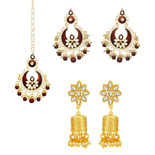 Sukkhi Glimmery Pearl Gold Plated Kundan Meenakari Earring Maangtikka Combo Set of 2 for Women