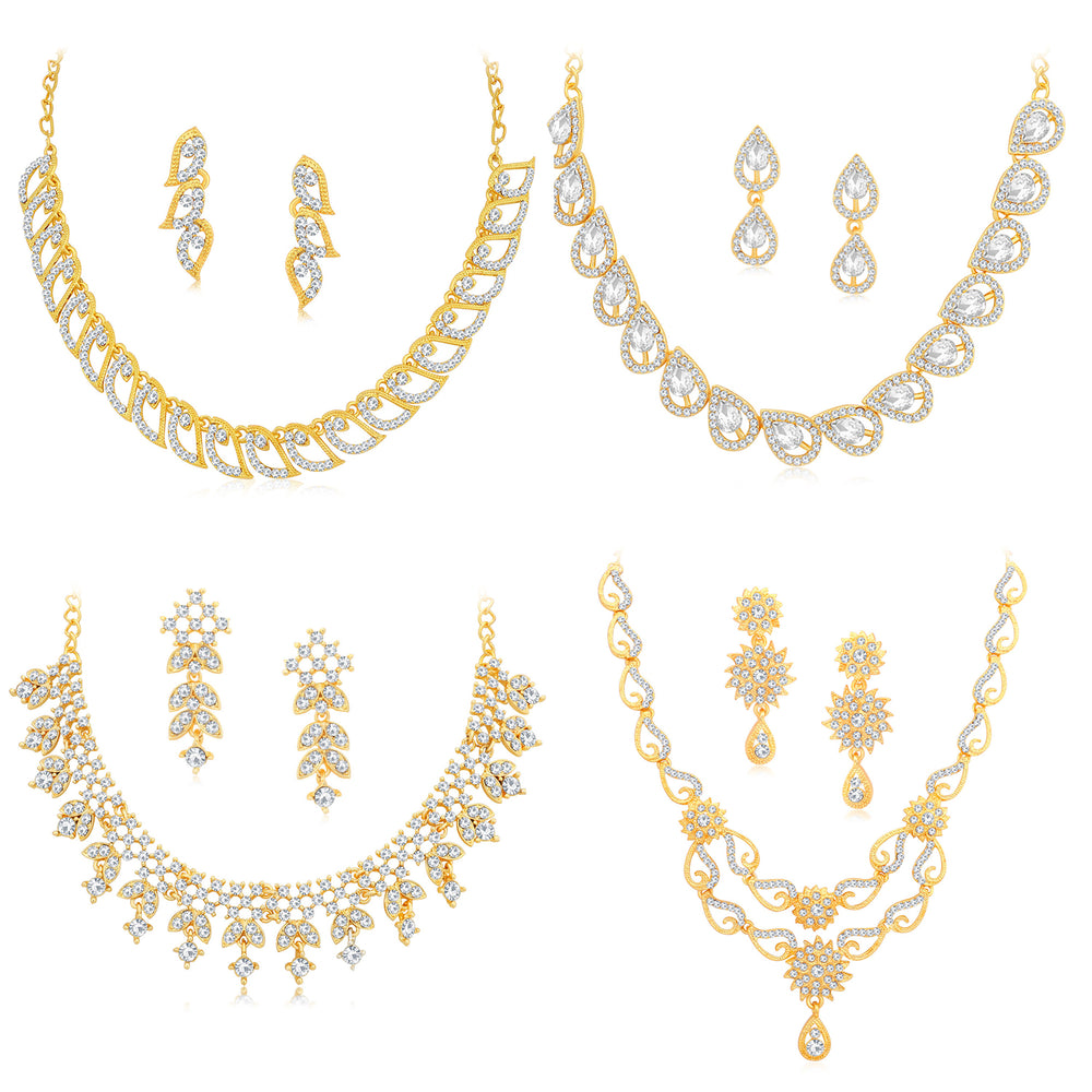 Sukkhi Glittery Gold Plated Austrian Diamond Necklace Combo Set of 4 for Women
