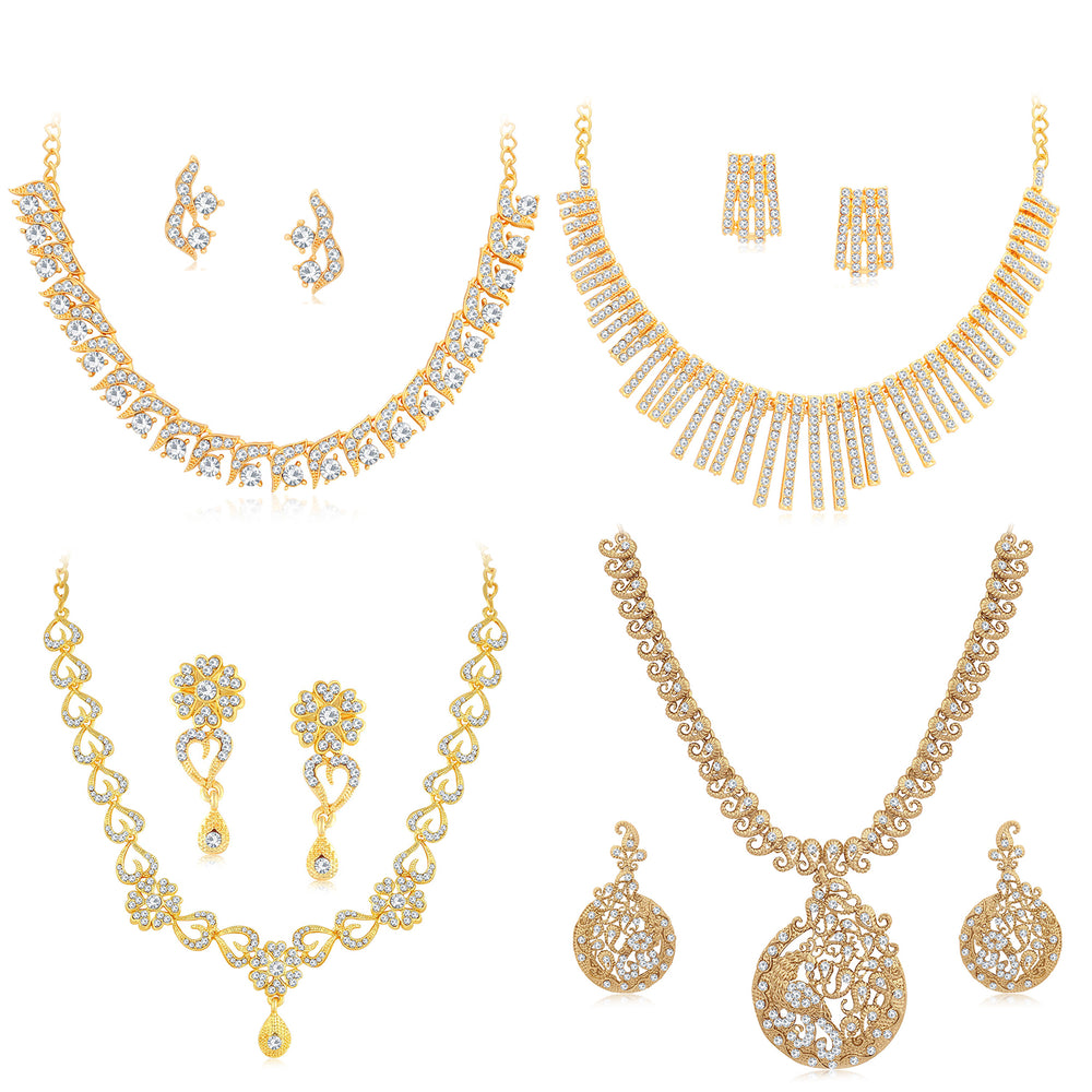 Sukkhi Trendy Gold Plated Austrian Diamond Necklace Combo Set of 4 for Women