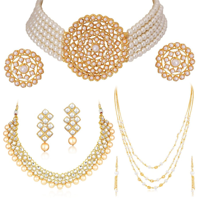 Sukkhi Classic Gold Plated Kundan & Pearl Set of 3 Necklace Combo for Women