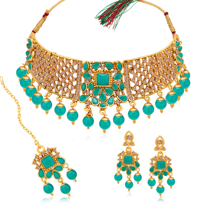 Sukkhi Amazing Gold Plated LCT & Sky Blue Pearl Choker Necklace Set for Women