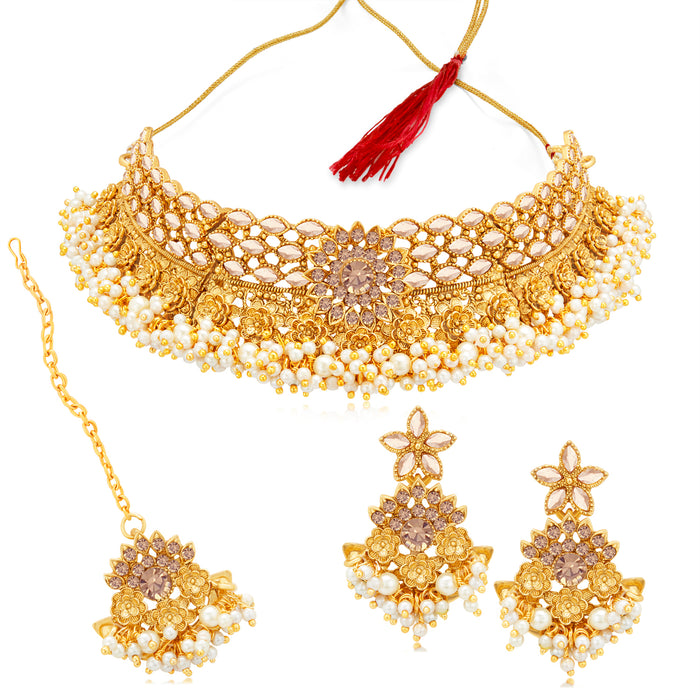 Sukkhi Floral Gold Plated LCT & Pearl Choker Necklace Set for Women