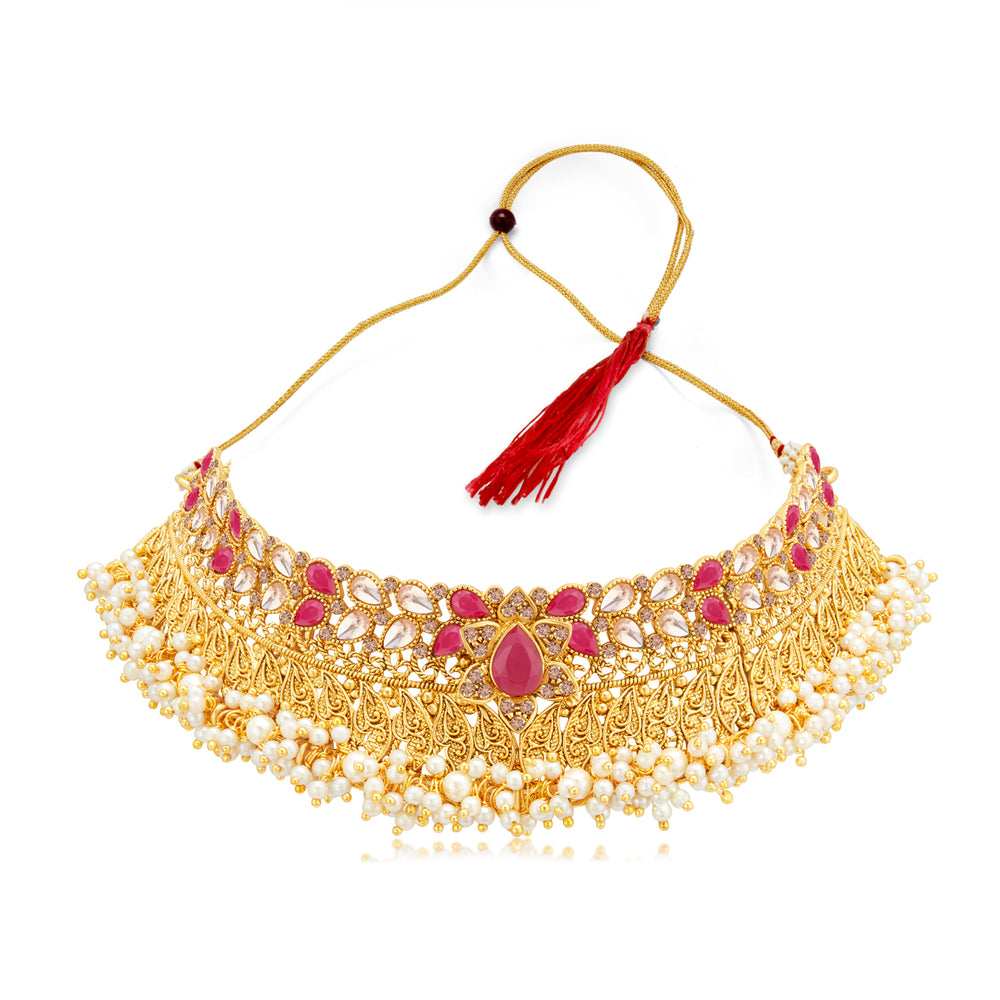 Sukkhi Classy Gold Plated LCT & Pearl Choker Necklace Set for Women