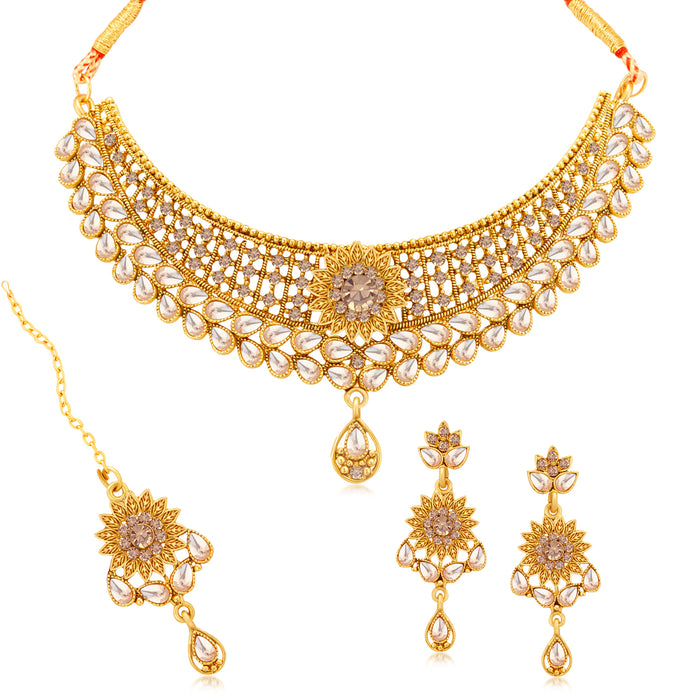 Sukkhi Glimmery Gold Plated LCT Stone Floral Choker Necklace Set for Women