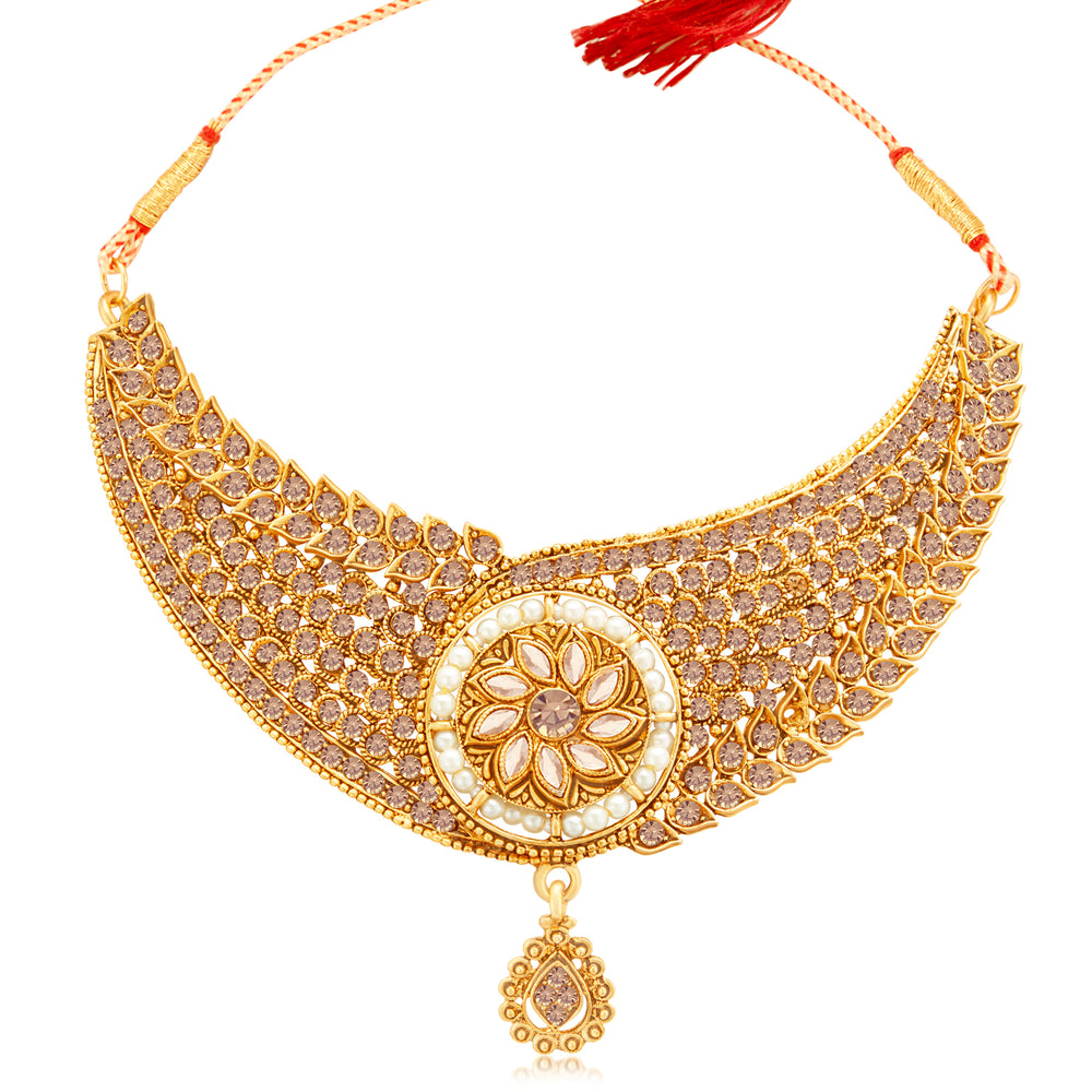 Sukkhi Designer Gold Plated LCT Stone & Pearl Choker Necklace Set for Women