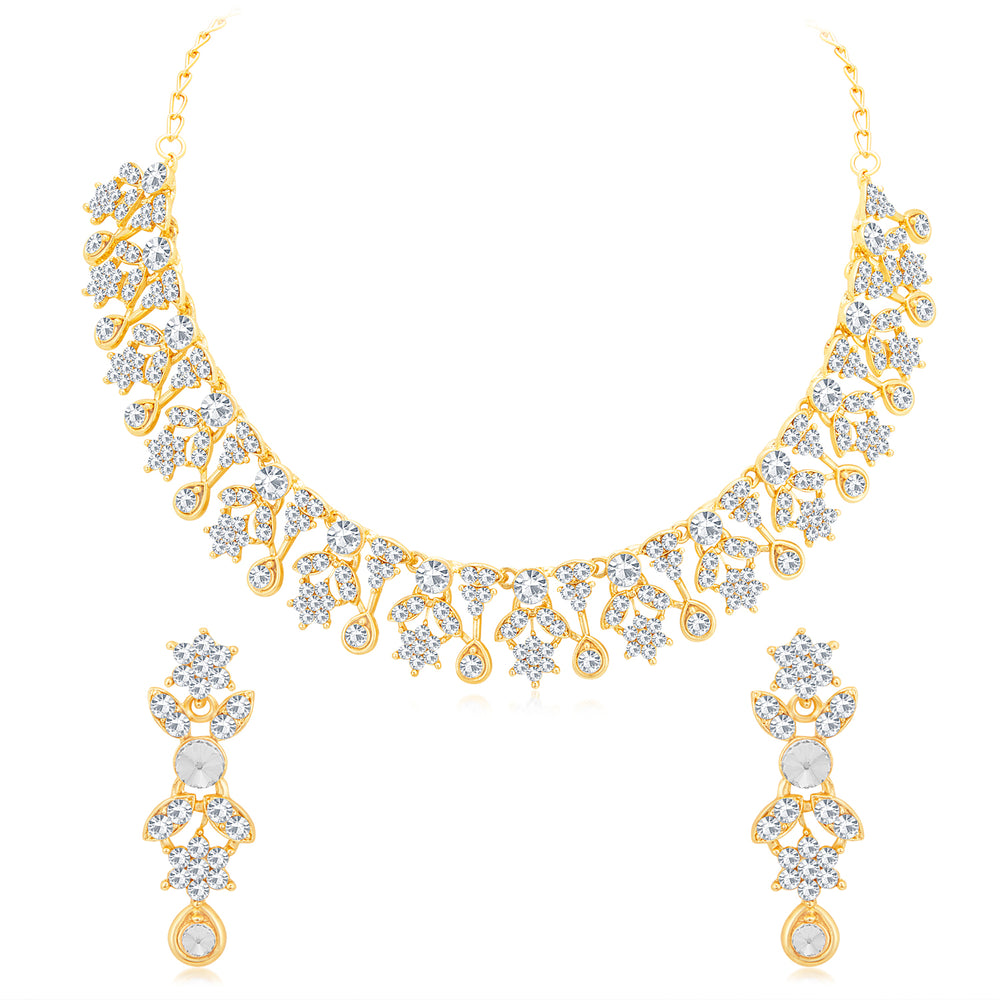 Sukkhi Glistening Gold Plated Austrian Diamond Choker Necklace Set for Women