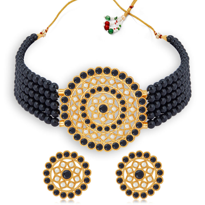 Sukkhi Elegant Gold Plated Green & White Pearl Choker Necklace Set for Women