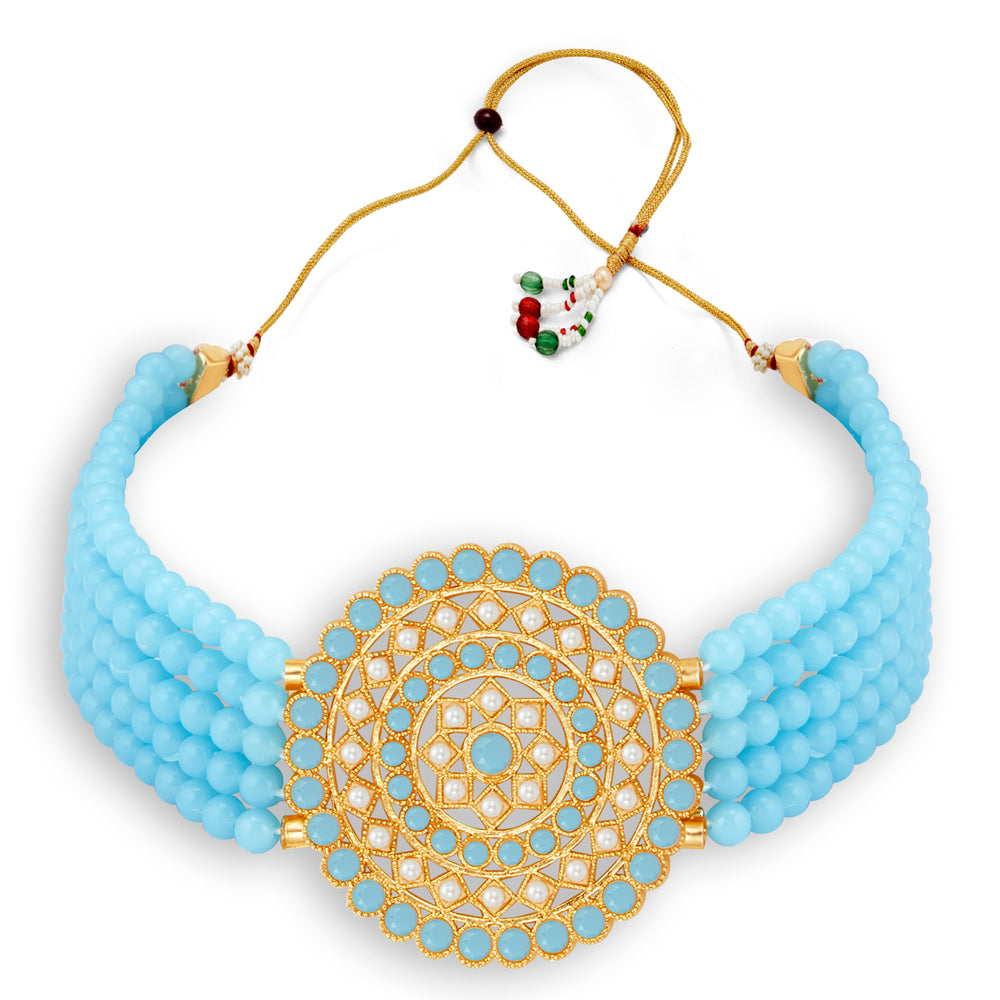 Sukkhi Glimmery Gold Plated Sky Blue & White Pearl Choker Necklace Set for Women