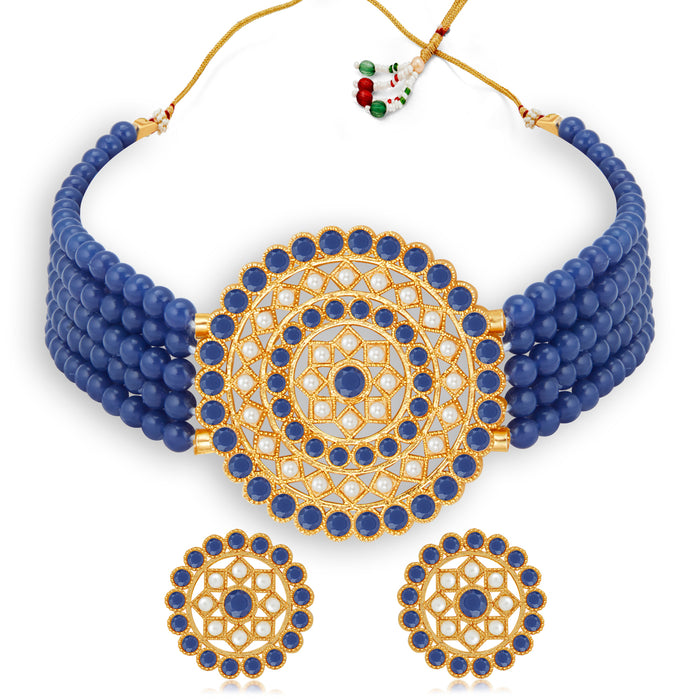 Sukkhi Marvelous Gold Plated Dark Blue & White Pearl Choker Necklace Set for Women