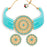 Sukkhi Glossy Gold Plated Firozi Blue & White Pearl Choker Necklace Set for Women