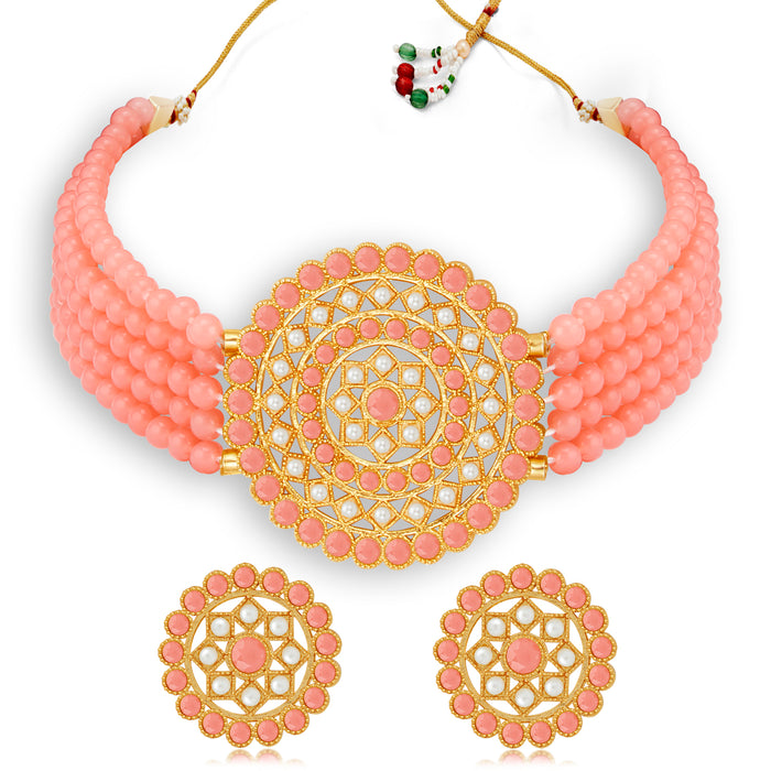 Sukkhi Pretty Gold Plated Baby Pink & White Pearl Choker Necklace Set for Women