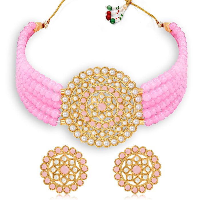 Sukkhi Classic Gold Plated Pastel Pink & White Pearl Choker Necklace Set for Women