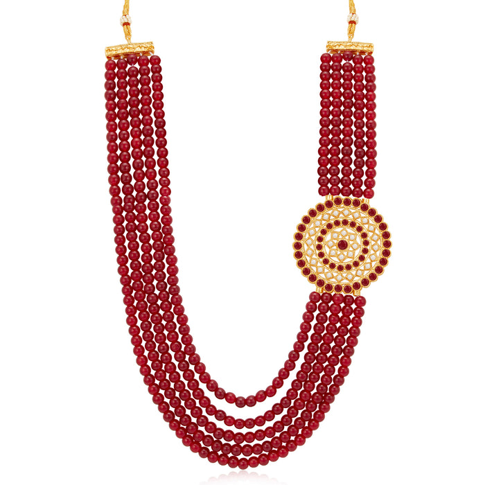 Sukkhi Incredible Gold Plated Maroon Pearl Long Haram Necklace Set for Women