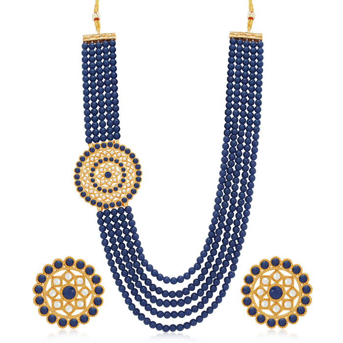 Sukkhi Astonish Gold Plated Dark Blue Pearl Long Haram Necklace Set for Women