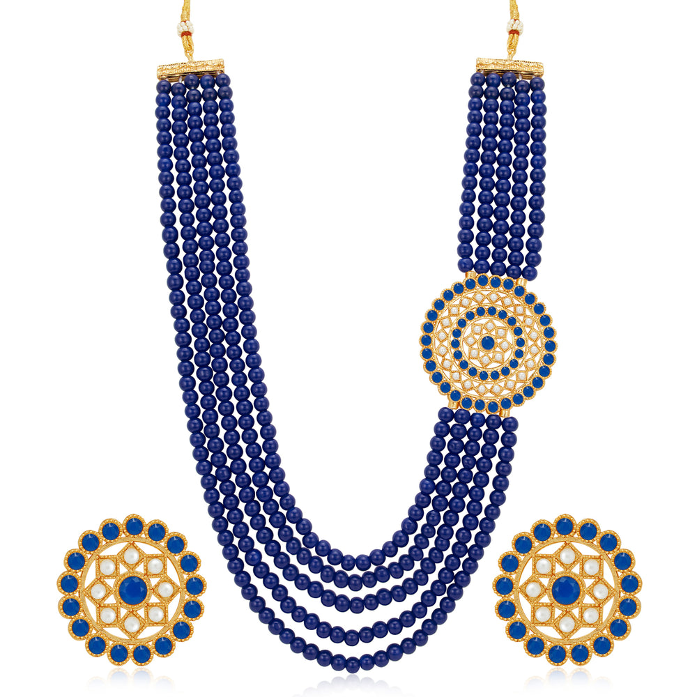 Sukkhi Dazzling Gold Plated Blue Pearl Long Haram Necklace Set for Women