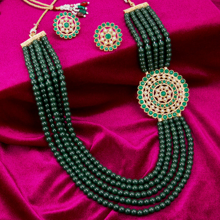 Sukkhi Amazing Gold Plated Dark Green Pearl Long Haram Necklace Set for Women