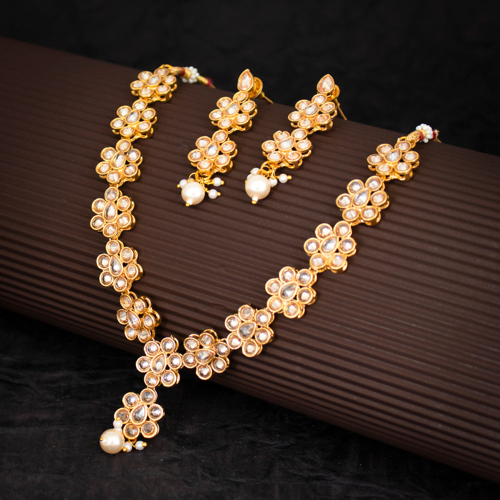 Sukkhi Marvellous White Colour Stone Studded Necklace Set