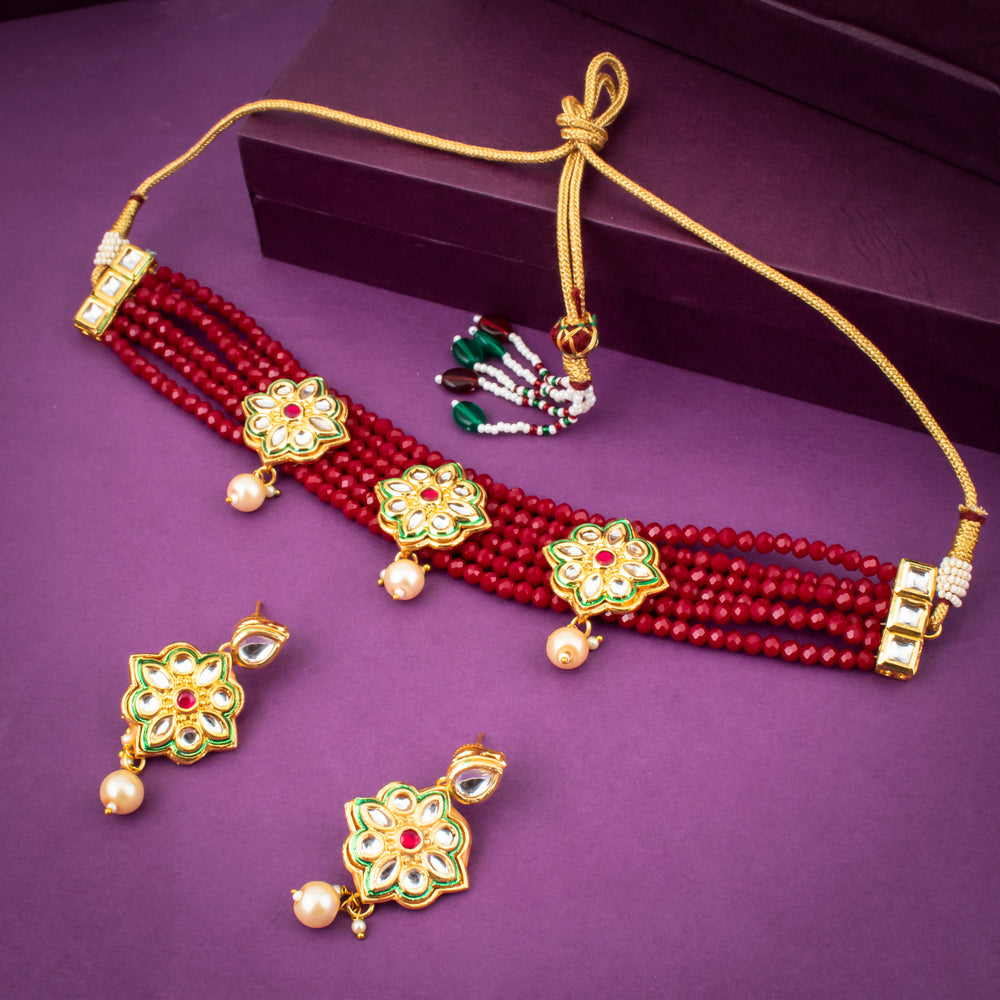 Sukkhi Glorious Gold Plated Pearl & Kundan Necklace Set for Women