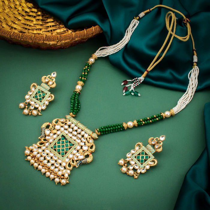 Sukkhi Charming Peacock Gold Plated Kundan Necklace Set for Women