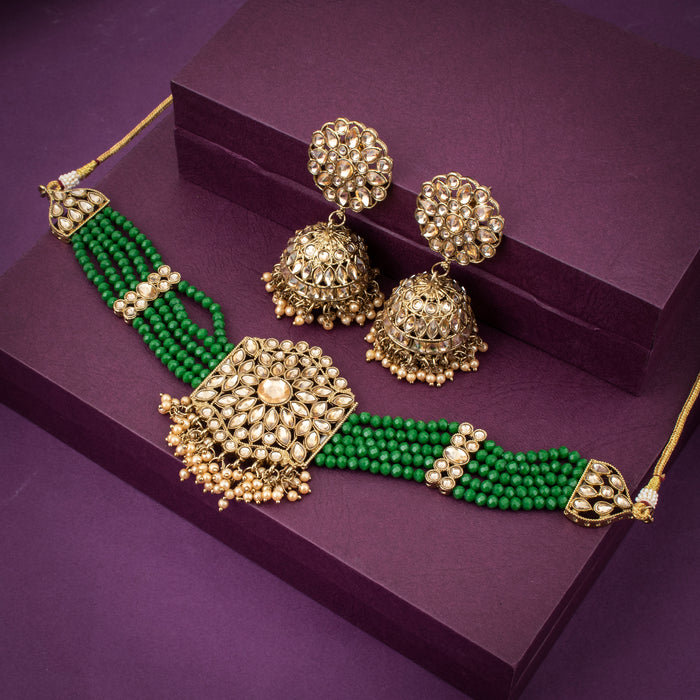 Sukkhi Astonish Gold Plated Green Pearl Necklace Set for Women