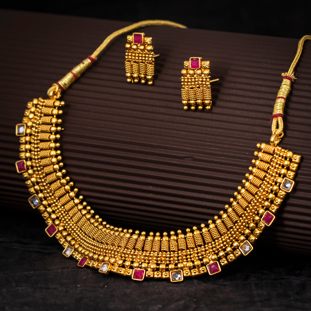 Sukkhi Delightly Gold Plated Choker Necklace Set For Women
