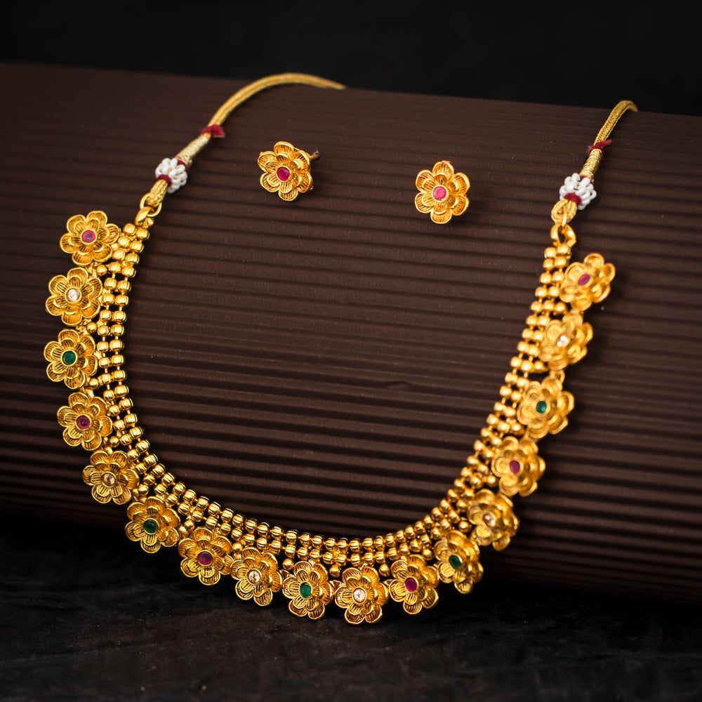 Sukkhi Floral Designer Gold Plated Necklace Set For Women