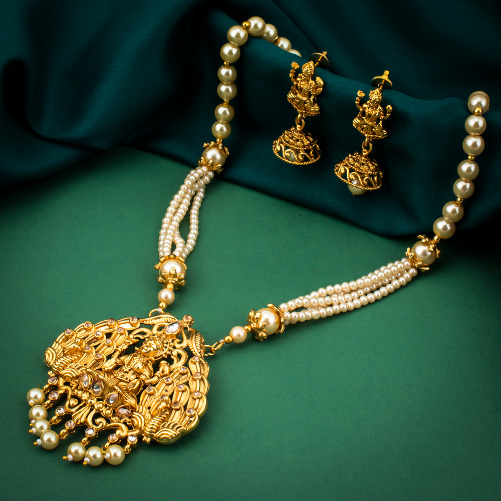 Sukkhi Traditional Gold Plated Temple Pearl Necklace Set For Women