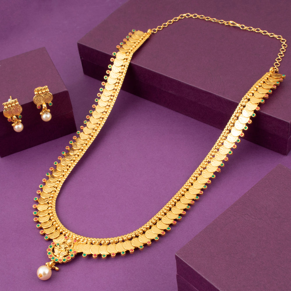 Sukkhi Glistening Laxmi Temple Coin Gold Plated Necklace Set For Women