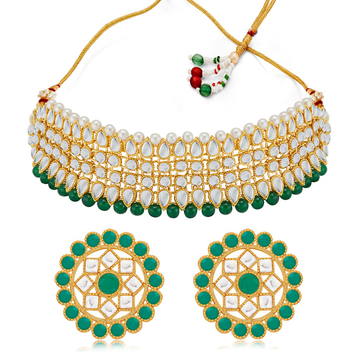 Sukkhi Marvelous Kundan Gold Plated Green & White Pearl Choker Necklace Set for Women