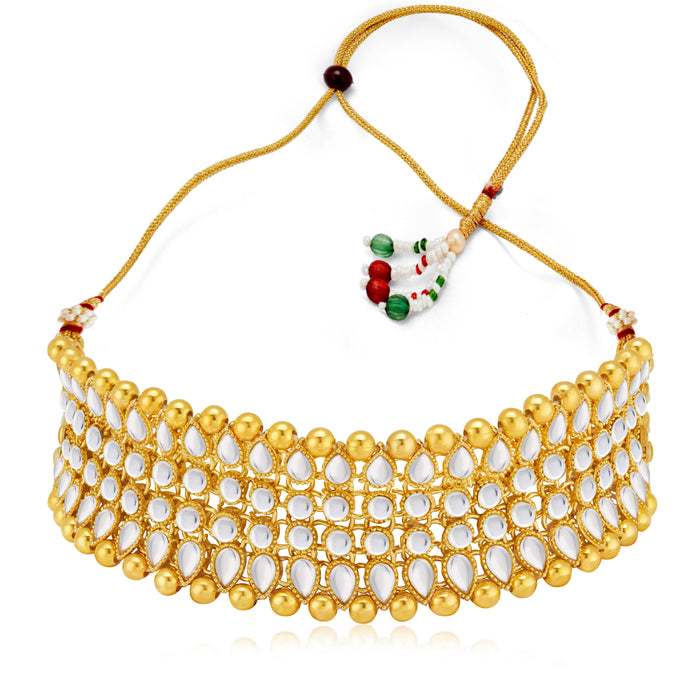 Sukkhi Lovely Kundan Gold Plated Golden Pearl Choker Necklace Set for Women
