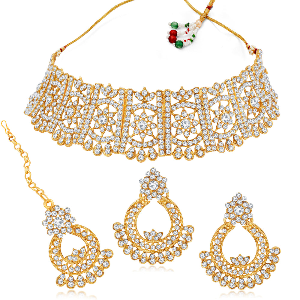 Sukkhi Classy Gold Plated Austrian Diamond Choker Necklace Set for Women
