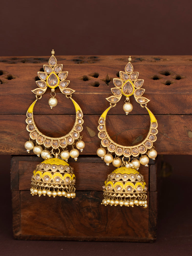 Sukkhi Glorious LCT Gold Plated Pearl Meenakari Jhumki Earring for Women