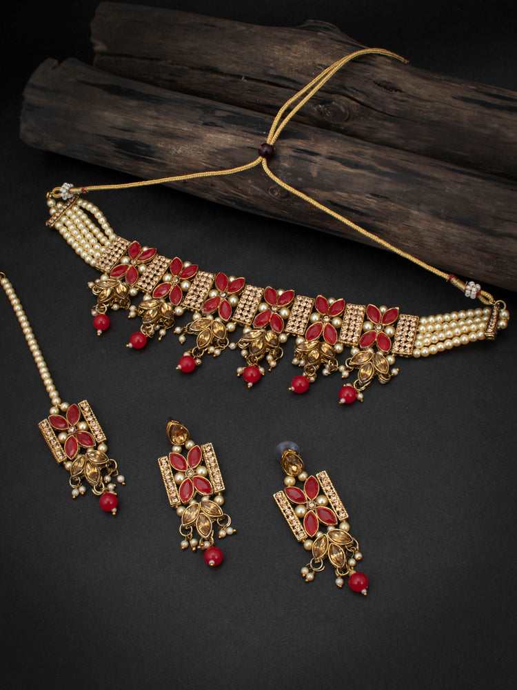 Sukkhi Pretty LCT Gold Plated Pearl Choker Necklace Set for Women