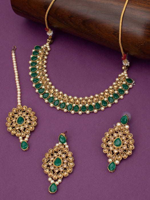 Sukkhi Lovely LCT Gold Plated Pearl Choker Necklace Set for Women