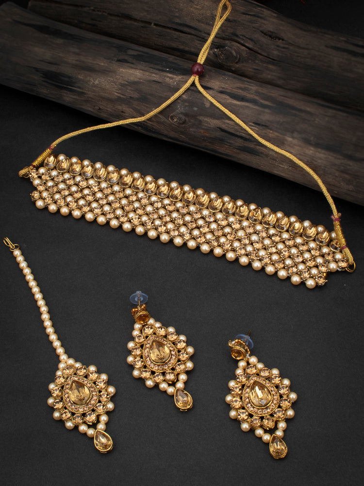 Sukkhi Delightful LCT Gold Plated Pearl Choker Necklace Set for Women