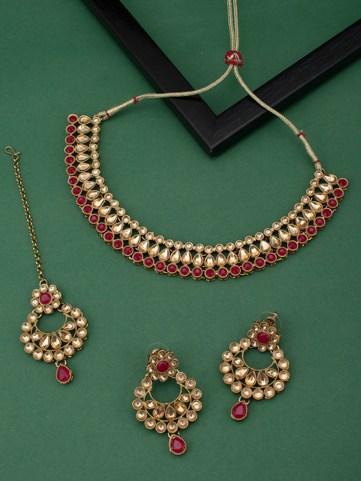 Sukkhi Dazzling LCT Gold Plated Choker Necklace Set for Women