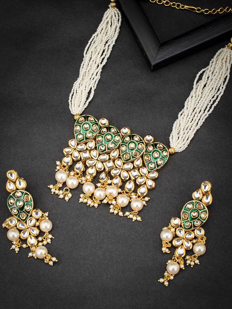 Sukkhi Amazing Pearl Gold Plated Kundan Meenakari Necklace Set for Women