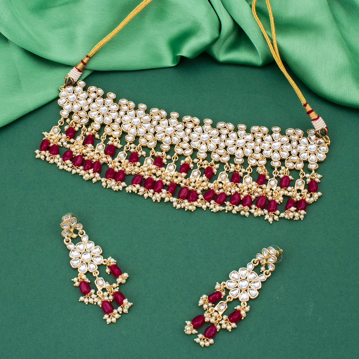 Sukkhi Classy Gold Plated Kundan Choker Necklace Set for Women