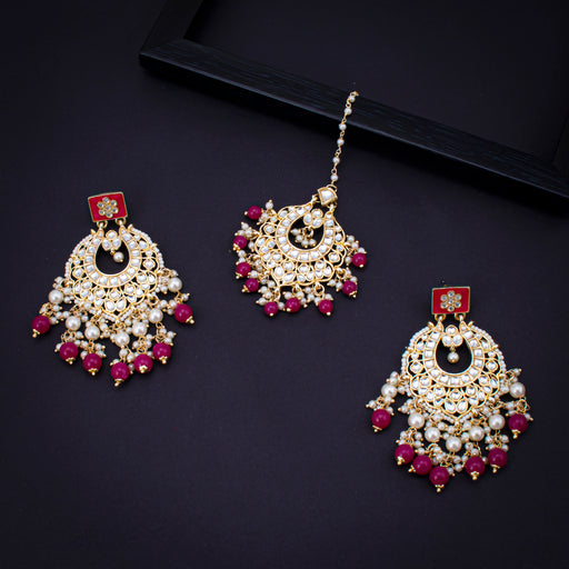 Sukkhi Excellent Kundan Gold Plated Earring and Maangtikka Set for Women
