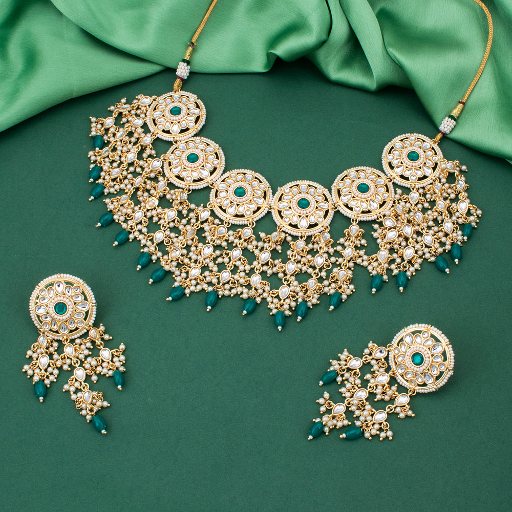 Sukkhi Spectacular Kundan Gold Plated Pearl Neckalce Set for Women