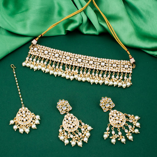 Sukkhi Equisite Gold Plated Kundan Neckalce Set With Maangtikka for Women