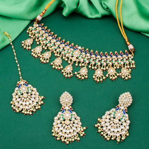 Sukkhi Amazing Kundan Gold Plated Peacock Necklace Set With Maangtikka for Women