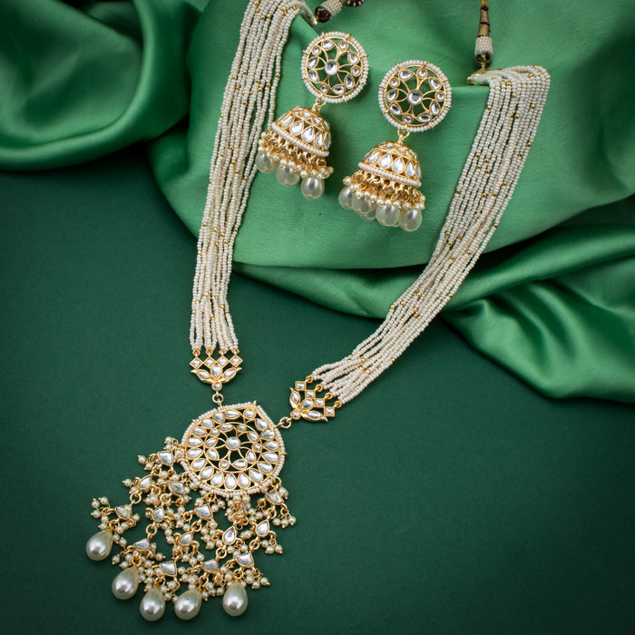 Sukkhi Marvelous Kundan Gold Plated Pearl Necklace Set for Women