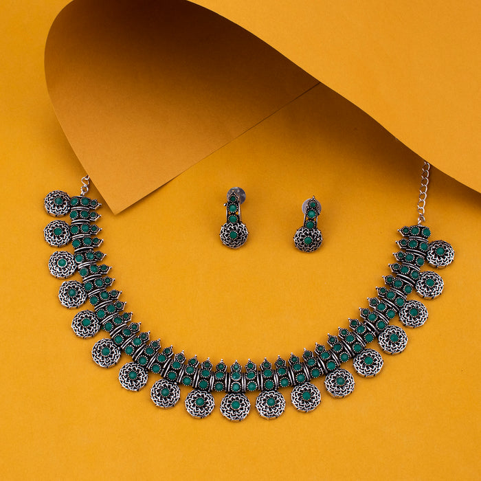 Sukkhi Marvelous Oxidised Green Stone Choker Necklace Set for Women