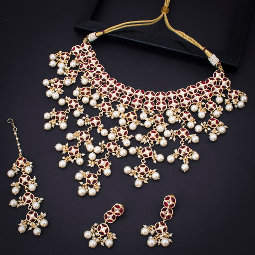 Sukkhi Dazzling Gold Plated Red & White Pearl Choker Necklace Set With Maangtikka for Women